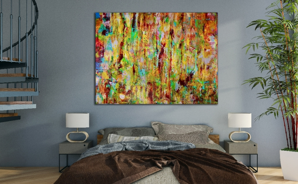 Room View - Magic Golden Spectra (2018) Acrylic painting by Nestor Toro